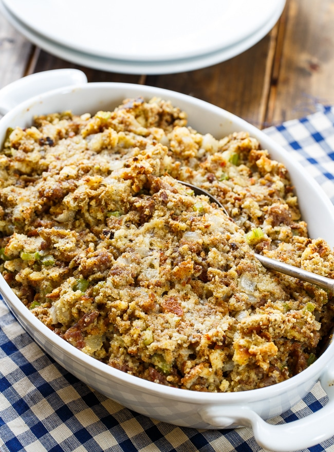 Sausage Stuffing- super flavorful and moist with a can of cream of chicken soup. #SausageSunday