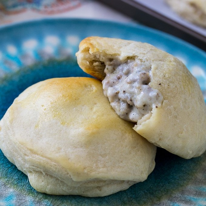 Sausage Gravy Stuffed Biscuits