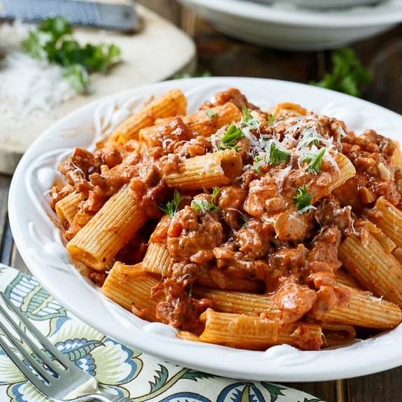 sausage with rigatoni in spicy cream sauce is pure comfort food and ...