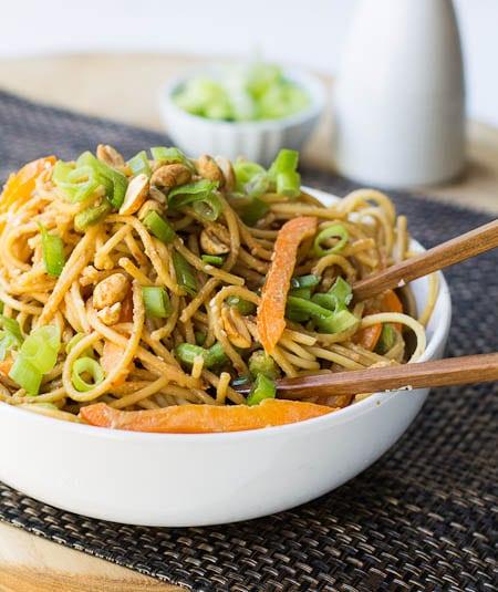 Sesame Peanut Noodles with edamame