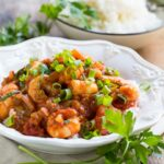Easy Shrimp Creole- shrimp cooked in a tomato sauce flavored with onion, garlic, and green pepper.