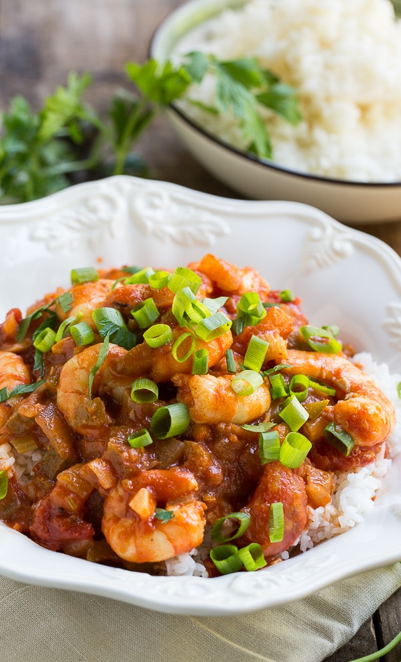 Easy Shrimp Creole- shrimp cooked in a tomato sauce flavored with onion, garlic, and green peppers.