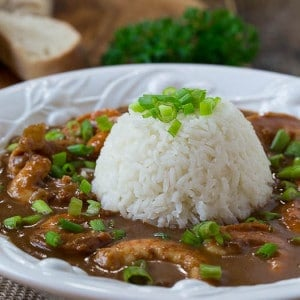 Shrimp Etouffee made with a super flavorful dark roux will bring a piece of the Big Easy to your kitchen