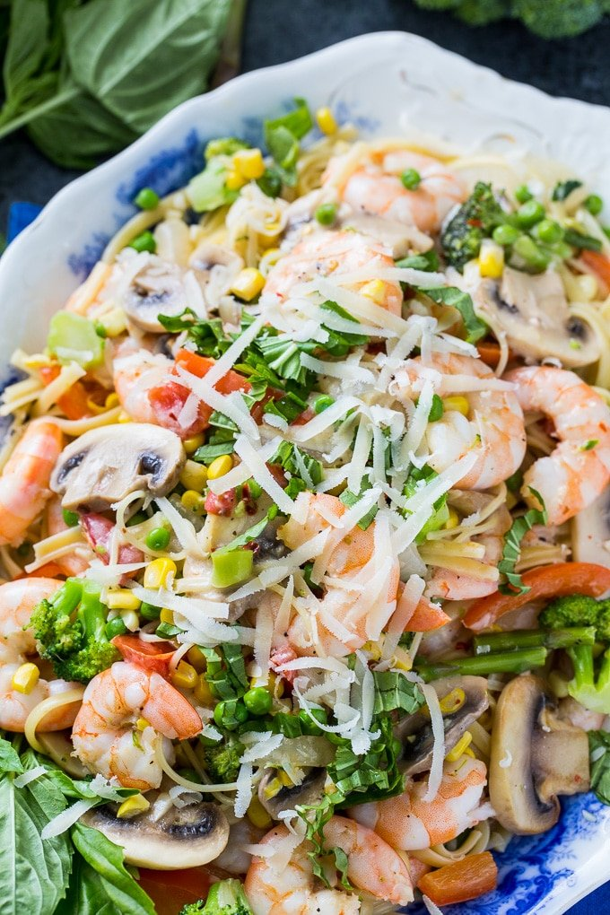 Shrimp Pasta Primavera with lots of fresh vegetables