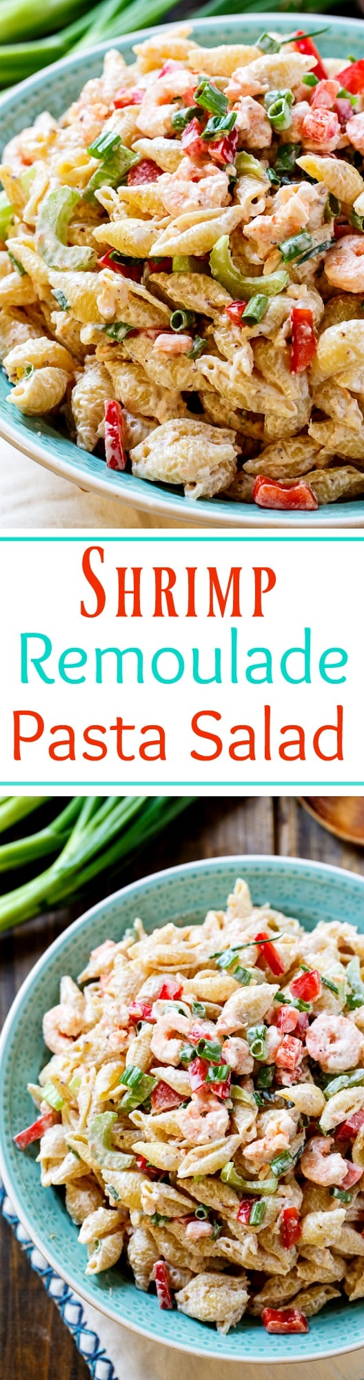 Shrimp Remoulade Pasta Salad- perfect for Mardi Gras!