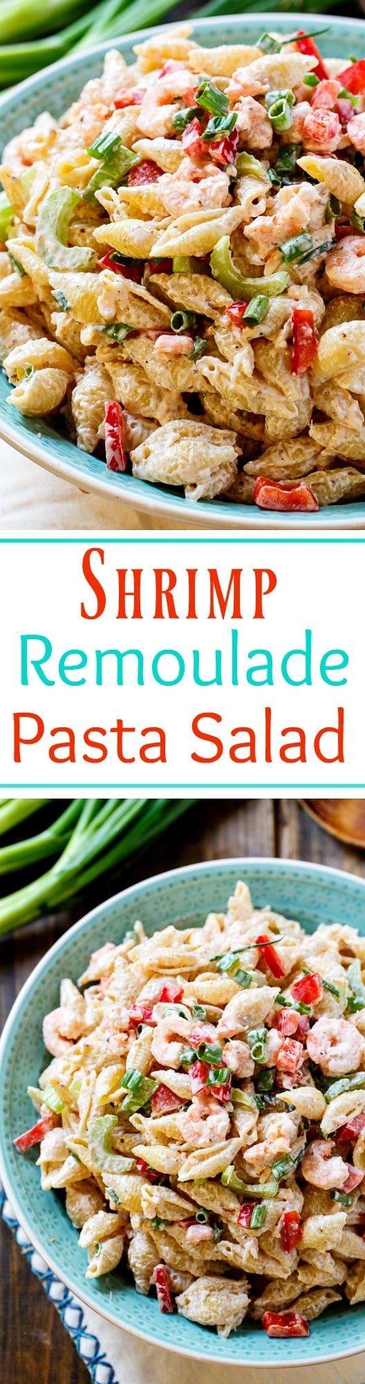 Shrimp Remoulade Pasta Salad- perfect for Mardi Gras!