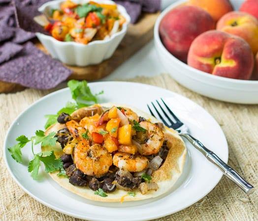 Shrimp Tostadas with Grilled Peach Salsa