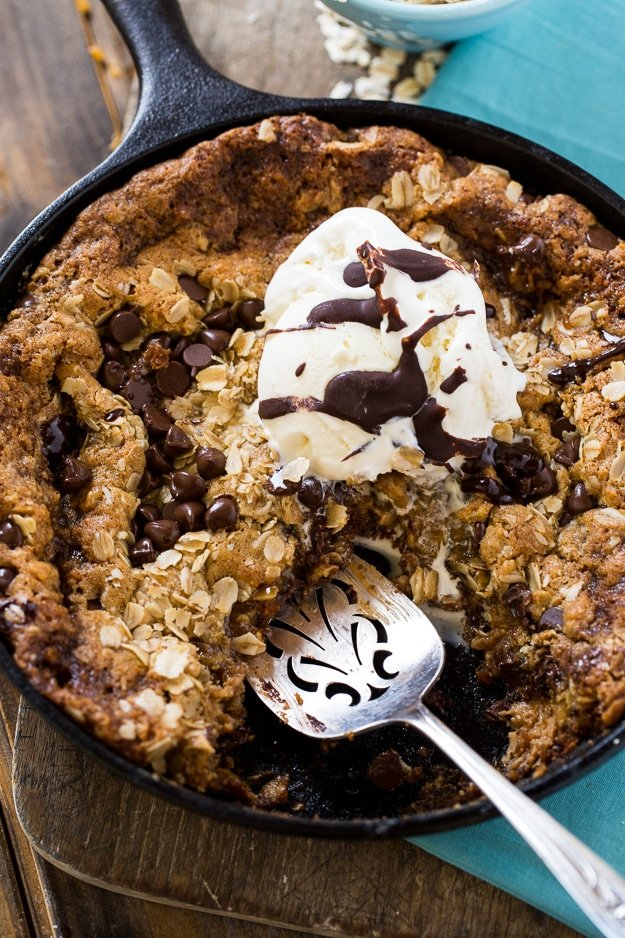 Chocolate Chip-Peanut Butter Oatmeal Skillet Cookie