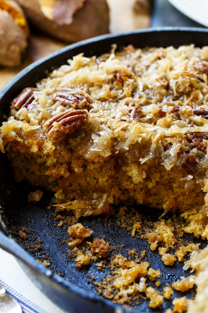 Skillet Sweet Potato Cake with Coconut Icing