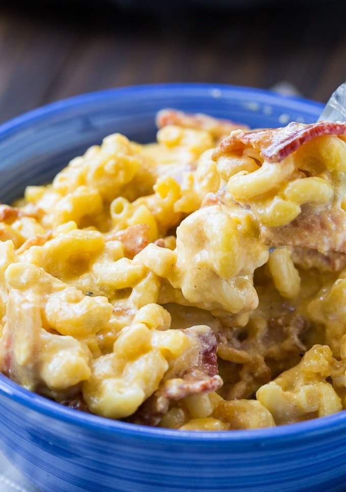 Mac and Cheese with bacon made in the crock pot.