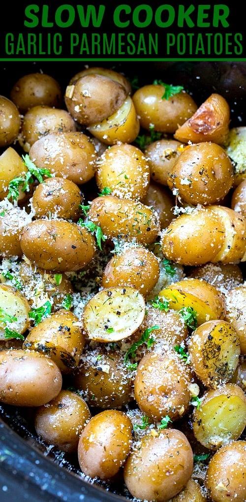Garlic Parmesan Potatoes in crock pot