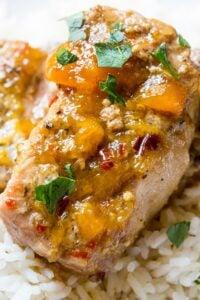Slow Cooker Spicy Peach Glazed Pork Chops