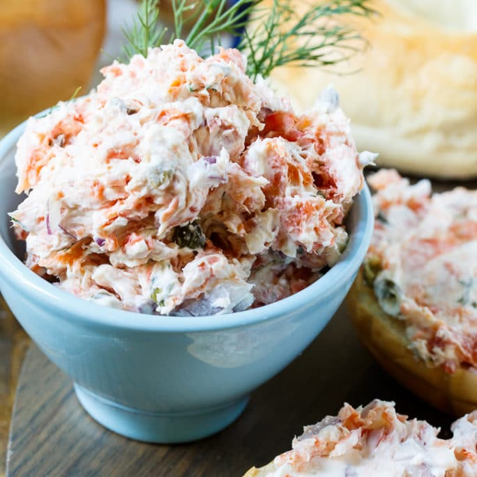Smoked Salmon Spread is flavored with red onion, capers, dill, and ...