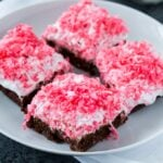 Sno Ball Brownies with marshmallow and coconut frosting