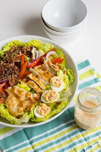 Southern Cobb Salad with Pimiento Cheese Dressing