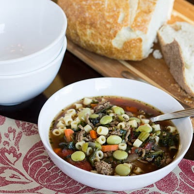Bowl full of Minestrone .