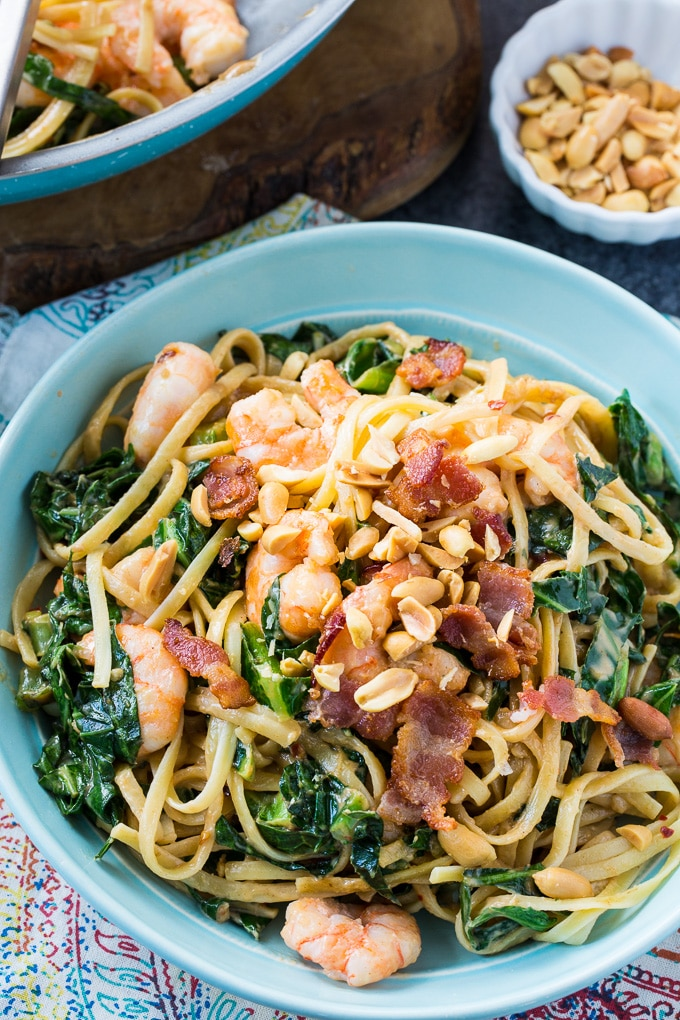 Southern Peanut Noodles with Shrimp, Bacon, and Collard Greens