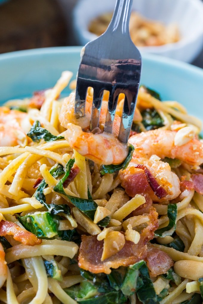 Southern Peanut Noodles with Shrimp