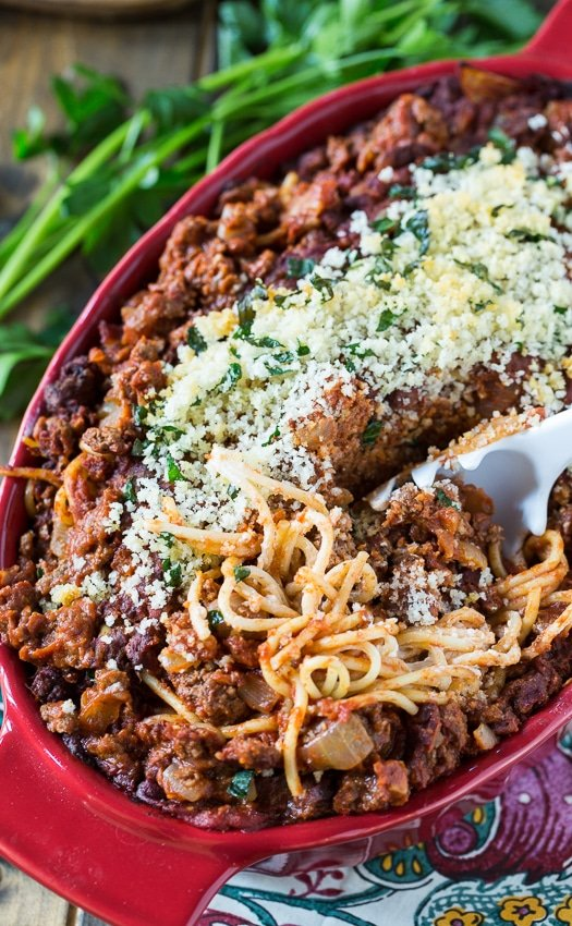 Spaghetti Beef Casserole with a layer of cream cheese.