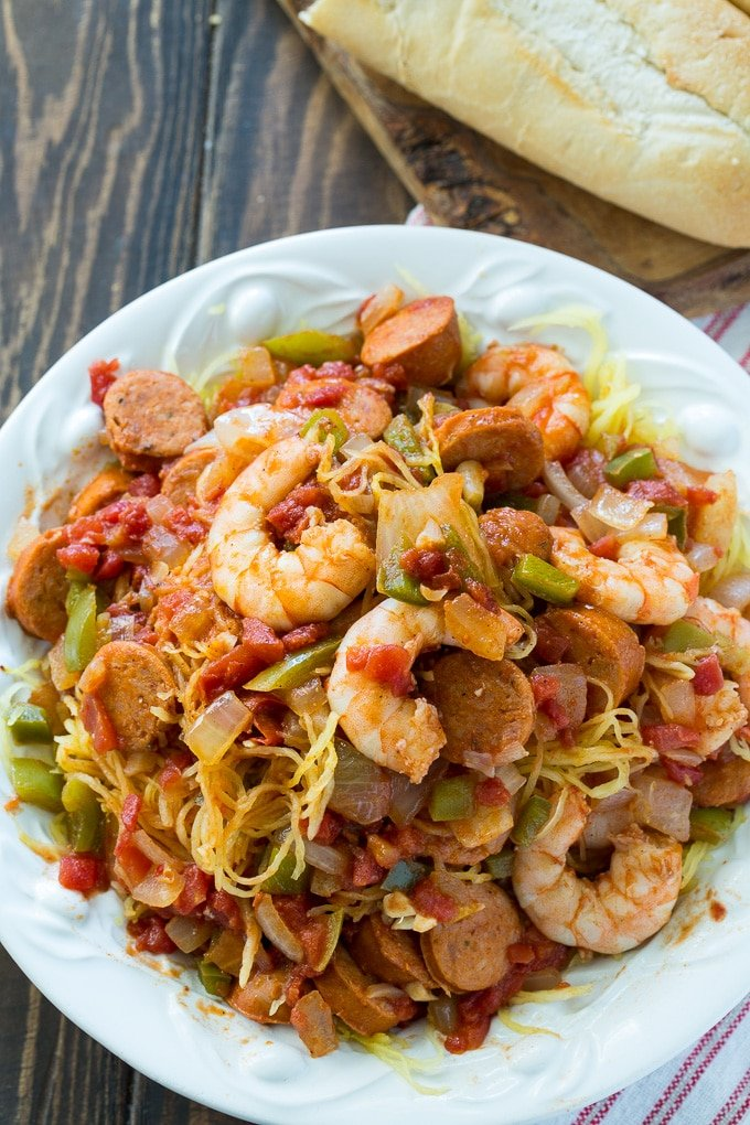 Spaghetti Squash Jambalaya- low carb