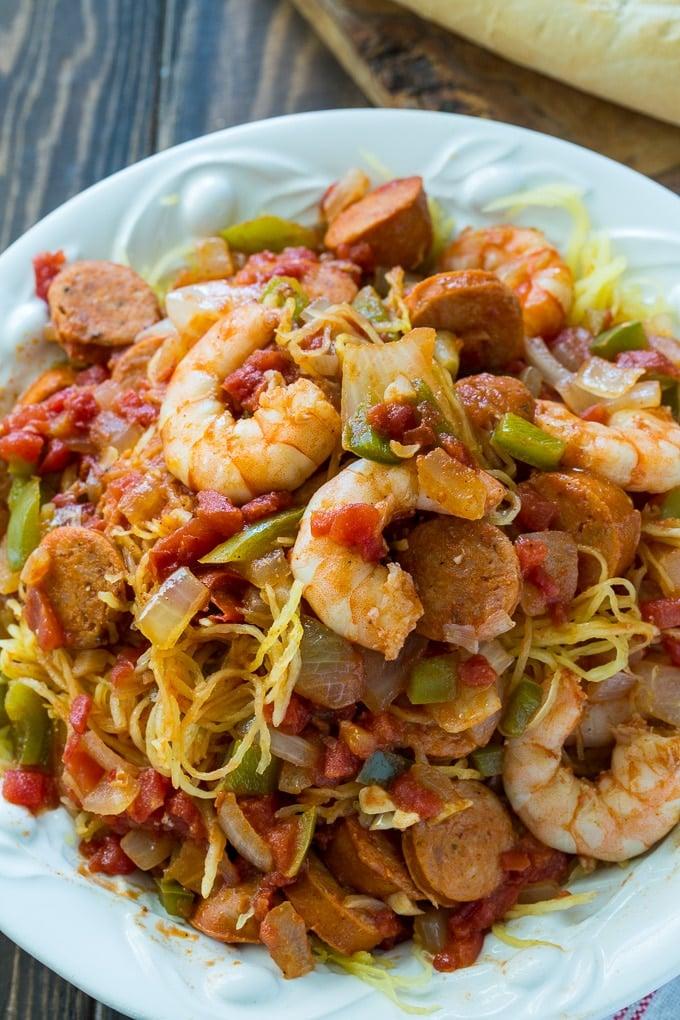 Spicy Spaghetti Squash Jambalaya