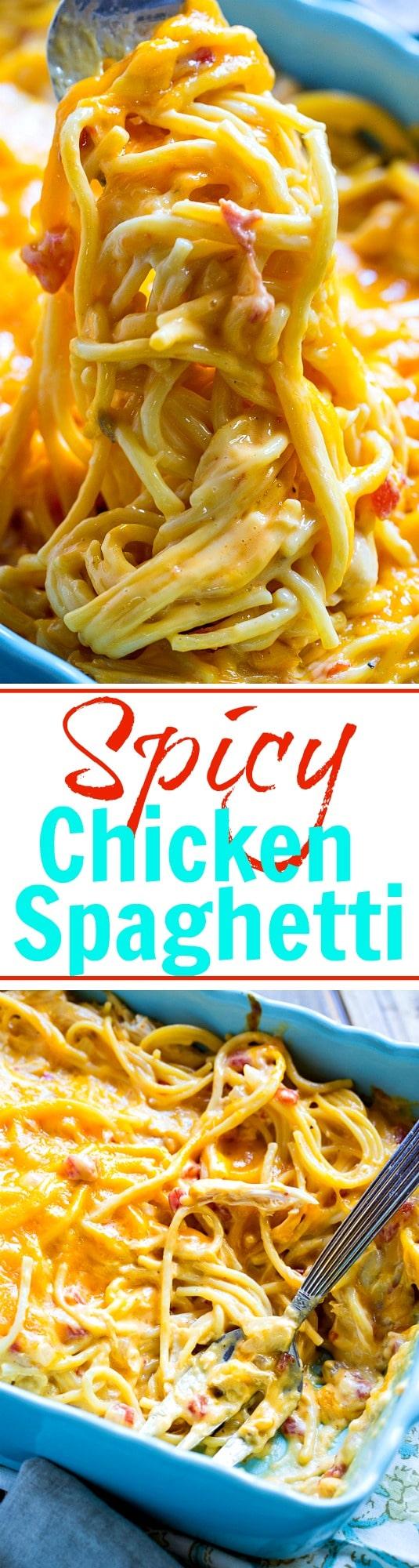 Spicy Chicken Spaghetti- cheesy, creamy comfort food!