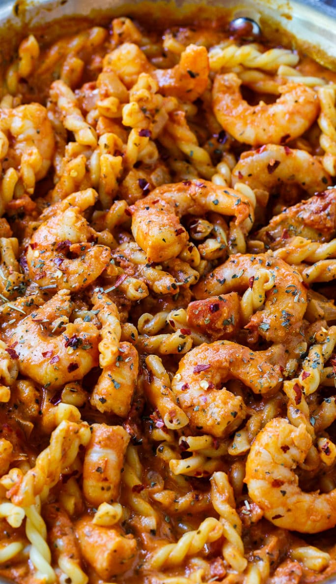 Spicy Shrimp and Tomato Cream Pasta-quick and easy to make for a weeknight meal.