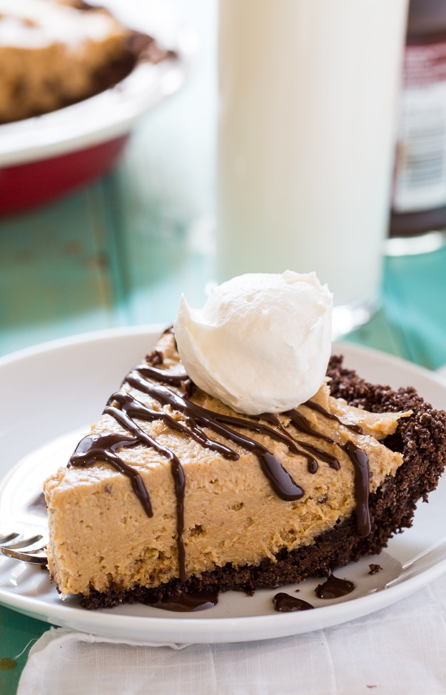 Lighter Peanut Butter Pie- a chocolate graham cracker crust with a creamy peanut butter filling sweetened with SPLENDA.