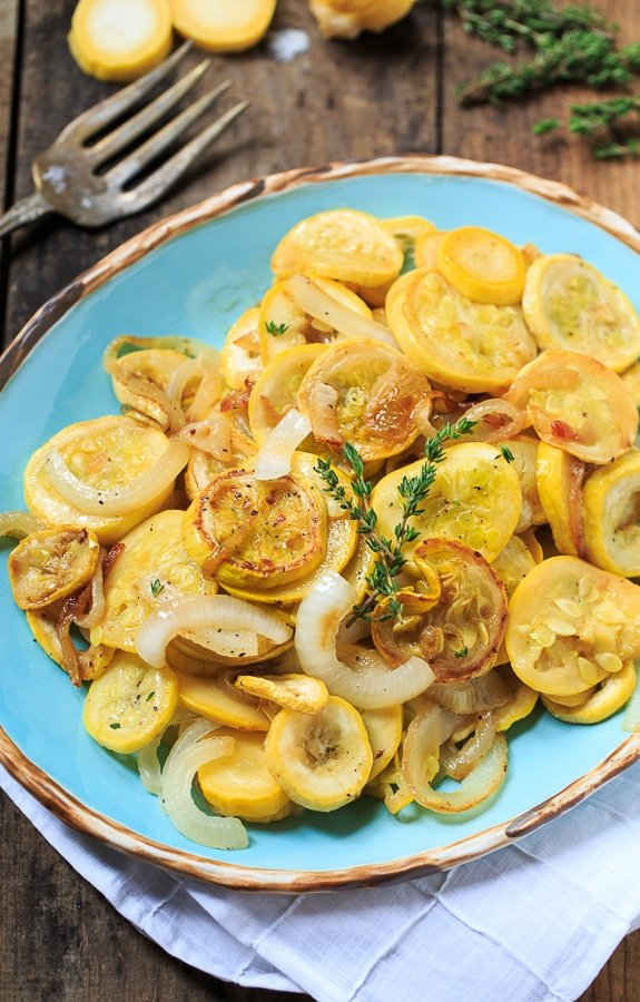 Summer Squash And Onions Sauteed In Bacon Grease