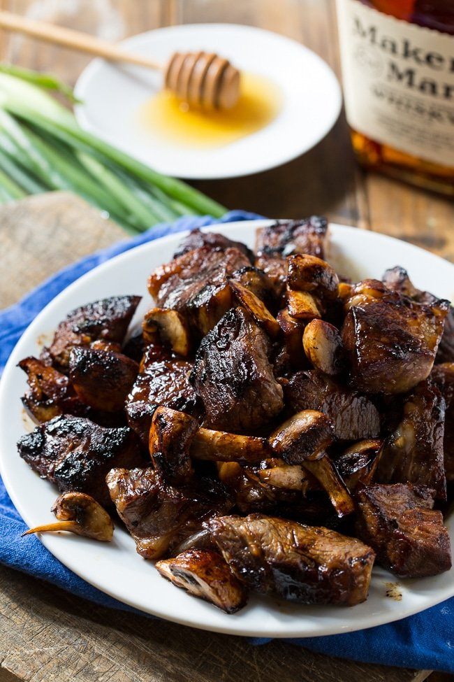Honey Bourbon Steak Tips