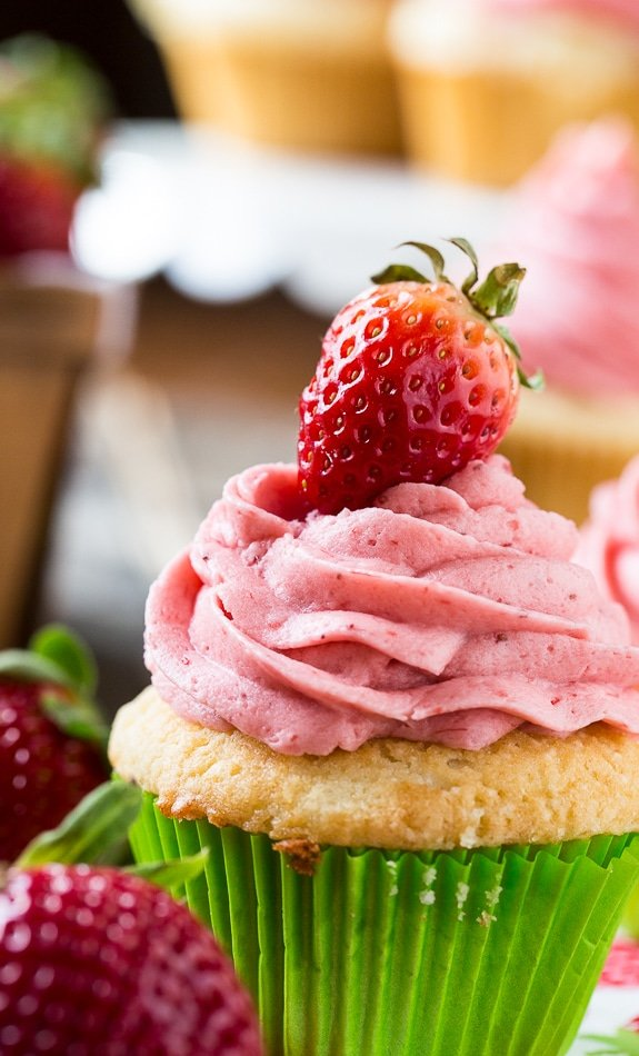 The perfect Vanilla Cupcake with fresh Strawberry Frosting.