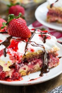 Strawberry Lasagna (no bake) made from store bought pound cake, vanilla pudding mix and fresh strawberries.