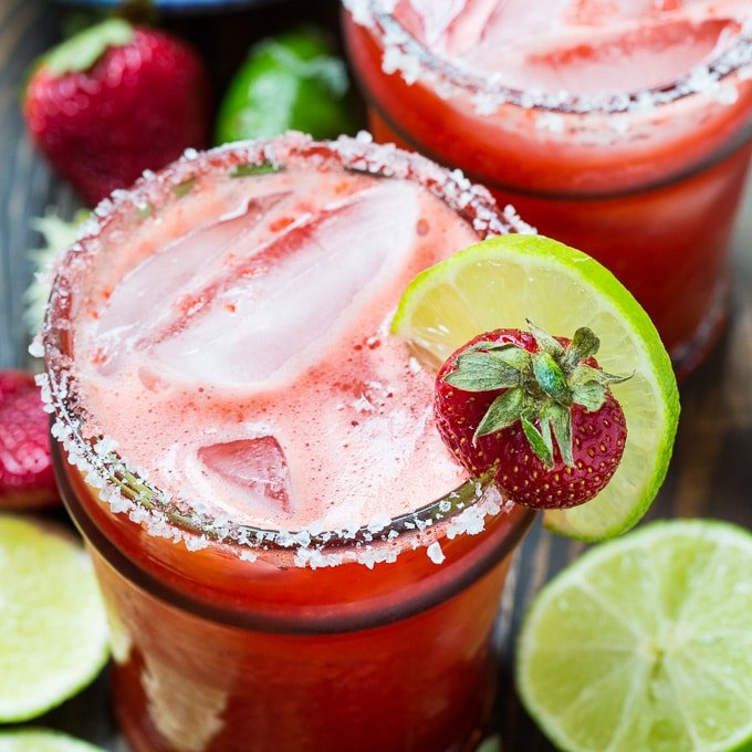 Fresh Strawberry Margaritas Spicy Southern Kitchen