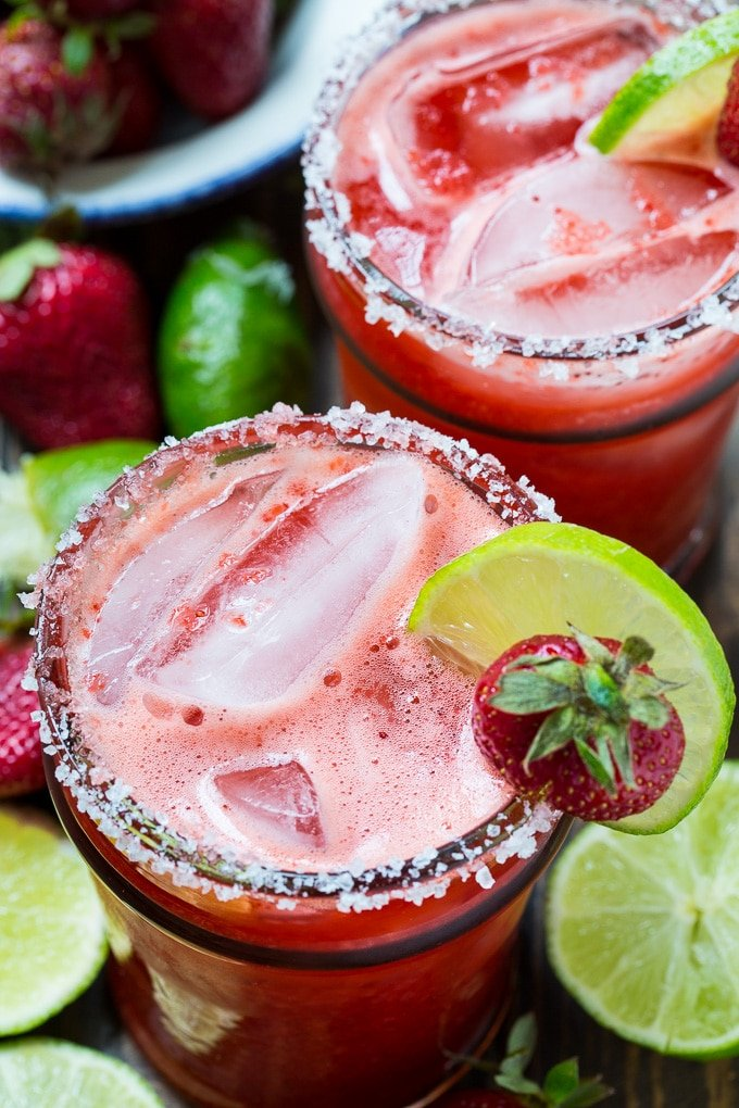 Fresh Strawberry Margaritas made from all natural ingredients