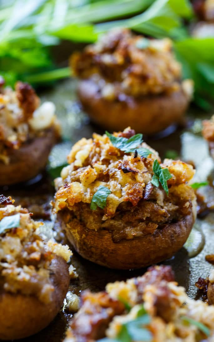Sausage Stuffed Mushrooms are such an easy and delicious party appetizer.