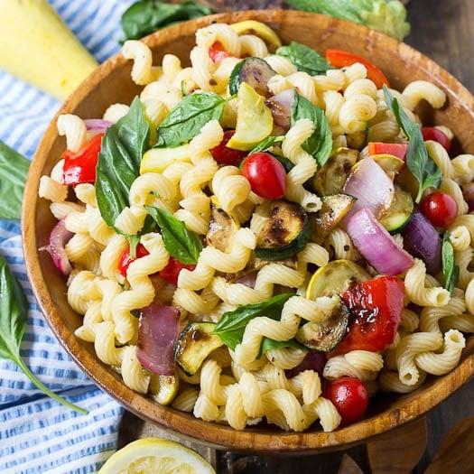 Grilled Summer Vegetable Pasta Salad with Lemon-Basil Vinaigrette