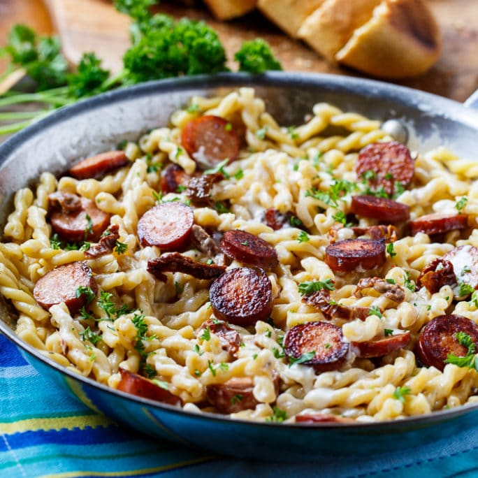 Pasta with Sun-Dried Tomato Sauce and Andouille Sausage.