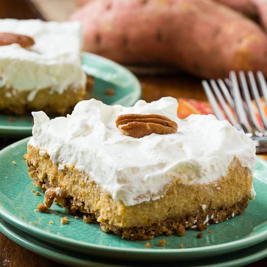 Sweet Potato Bars with a gingersnap crust and a layer of fresh whipped cream