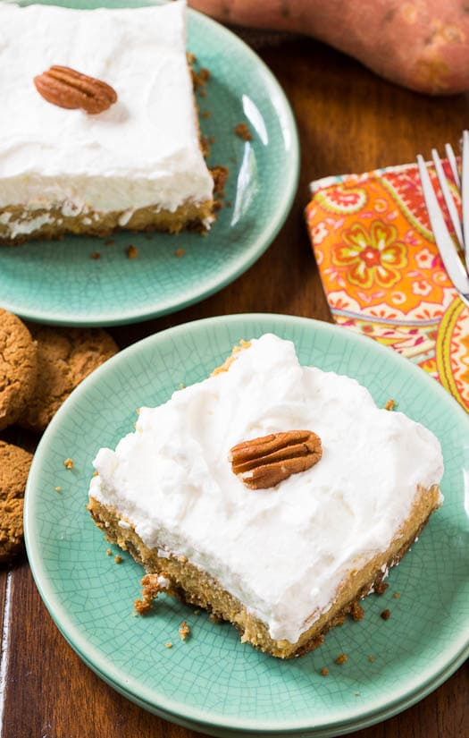 Sweet Potato Bars with a gingersnap crust
