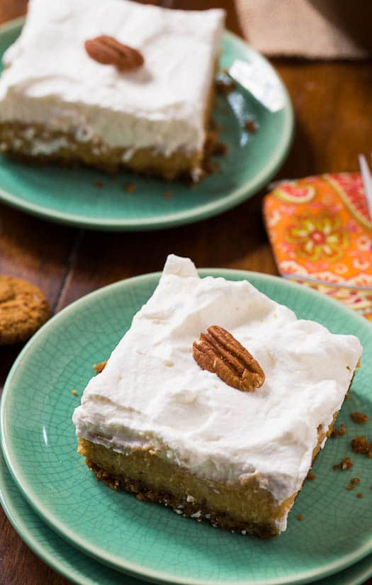 Sweet Potato Bars with a gingersnap crust and a layer of fresh whipped topping