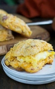 Sweet Potato-Bacon Biscuits with Cheddar cheese