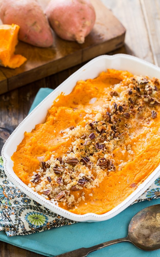 Savory Sweet Potato Casserole with Bacon and Gruyere