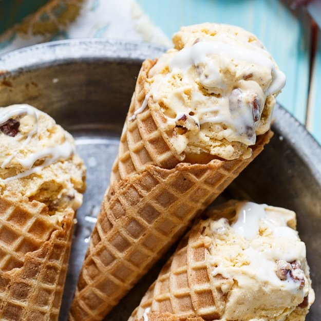 Sweet Potato Ice Cream with marshmallow swirl and candied pecans.
