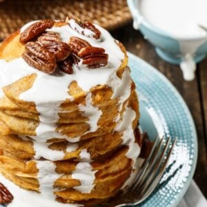 Sweet Potato Pancakes with marshmallow sauce and sugared pecans.