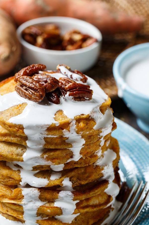 Sweet Potato Pancakes with Marshmallow Sauce - Spicy Southern Kitchen