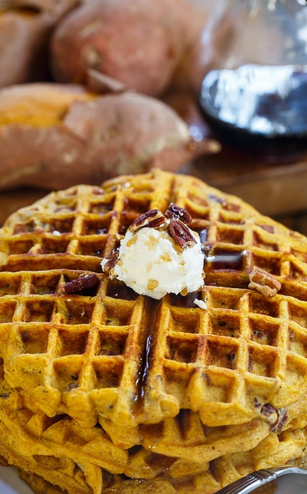 Sweet Potato Waffles with Pecans