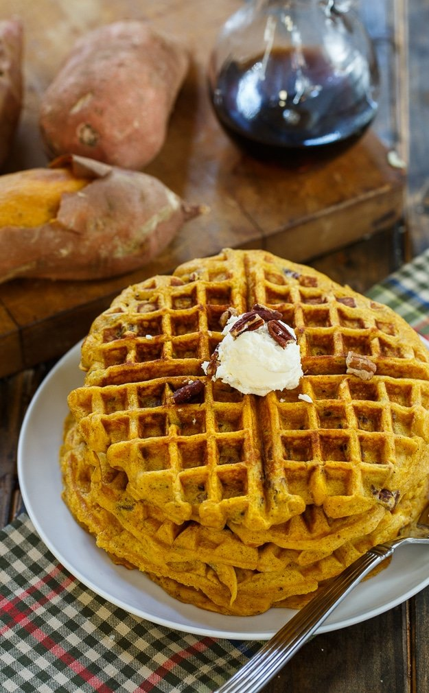 Sweet Potato Waffles with Pecans