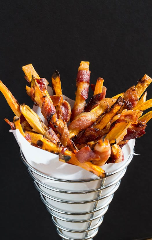 Sweet Potato Fries Wrapped in Bacon