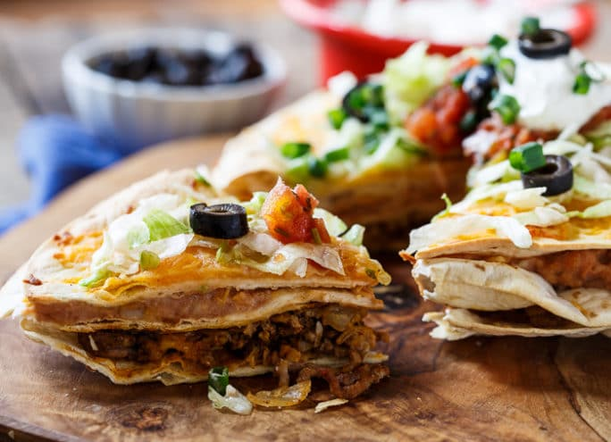 Stacked Tortilla Taco Pizzas