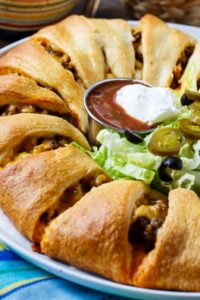 Taco Ring made with refrigerated crescent rolls.